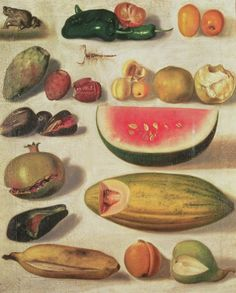 """Still Life with Fruit (with Scorpion and Frog),"" by Hermenegildo Bustos (1874)"