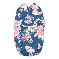 Charleigh's coral and navy floral swaddling cocoon wrap for infants