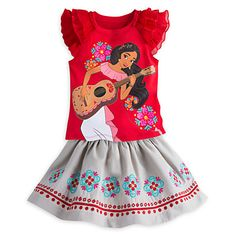 [Songbird style]This skirt set is certain to strike the right chord with <i>Elena of Avalor</i> fans. The musical princess is pictured plucking her guitar on the bold top that comes with a coordinating skirt.