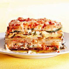 Rachael Ray's Vegetable Lasagna - no noodles! Low-carb and gluten free. Uses eggplant and zucchini slices instead. I think it would be good (and more protein packed) to use tofu instead of ricotta