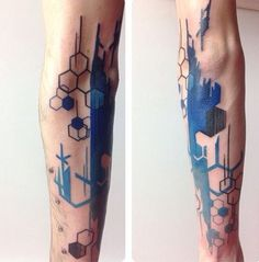 geometric and brush stroke tattoo                                                                                                                                                     Más