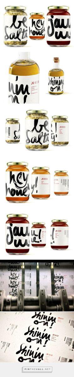 (1) Hey Honey! Jam Me! Be Salty! Shinin'on! / Packaging / Design / Inspiration / Ideas / Branding / Typography / :ettering / Handmade / Statement / Bold / Handwritting / Modern / Quirky / Fun /
