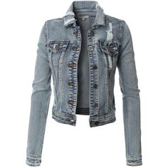 Womens Vintage Cropped Long Sleeve Destroyed Denim Jean Jacket with... ($34) ❤ liked on Polyvore featuring outerwear, jackets, chaquetas, cropped cotton jacket, summer jackets, party jackets, cropped jacket and long sleeve jacket