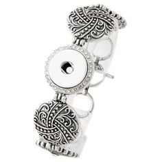 Spiral Design 1 Snap Button Noosa Charm Link Clasp Bracelet w/ White Stones, For 18mm 19mm 20mm Snaps, Snap Jewelry Bracelet