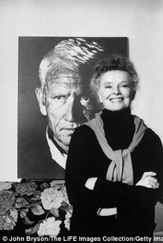 Actress Katharine Hepburn is seen standing in front of a poster size Stern photo (her favorite) of actor Spencer Tracy in her townhouse, while Stern is pictured at the Beverly Hills Film Festival in 2008 (right)