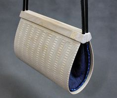 Purse WOODEN DROP White Newcastle Denim Indigo Handbag, Handmade, Bleached Oiled Wood, Hand Sewn, Fashionable, Cotton, Plywood, Jeans