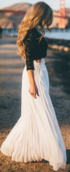 #summer #elegant #outfits | Black Lace Top + White Pleat Maxi Skirt
