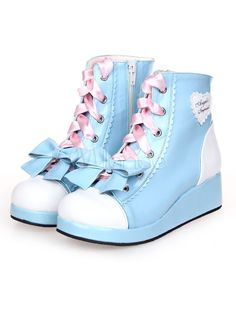 Sky Blue Lolita Boots Wedge Heels Lace Up Bow Decor Zip Designed & Costumes > Lolita Specials > Lolita Footwear > Lolita Shoes Kawaii Clothes, Kawaii Shoes, Estilo Goth Pastel, Pastel Goth Fashion, Wedge Boots, Shoe Boots, Wedge Heels, High Heels, Ankle Boots