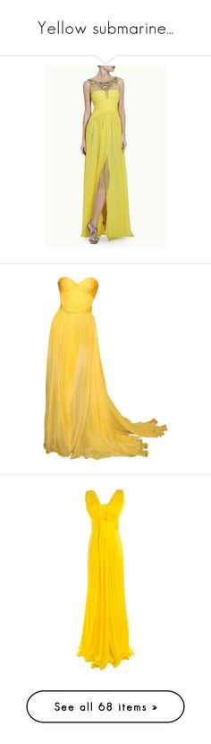 """""""Yellow submarine..."""" by funkenregen ❤ liked on Polyvore featuring dresses, gowns, gown, women, pleated dress, beaded dress, beaded chiffon dress, beaded evening gowns, pleated gown and vestidos"""