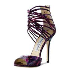 Fuchsia Jimmy Choo Quantum Embossed Sandals