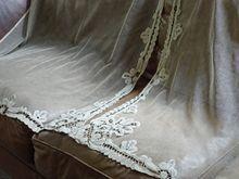 Vintage Battenberg Lace Curtains Ecru Handmade Lace Pair 33 x 72