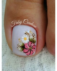 TOO cute flower nail art for toes! Pedicure Nail Art, Toe Nail Art, Nail Manicure, Pretty Toe Nails, Cute Toe Nails, Hair And Nails, My Nails, Toe Nail Designs, Flower Pedicure Designs