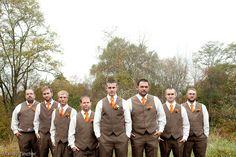 Mr. and Mrs. Shipe   WV Wedding Photographer - Perfect Brown & Orange Groom & Groomsmen Attire :)