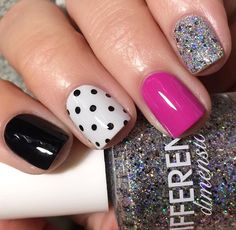 Accent nails are a really good way to enliven your routine manicure. Accent nails are astoundingly popular because they can really make your nails pop. Nail Art Designs, Simple Nail Designs, Beautiful Nail Designs, Nails Design, Bright Nail Designs, Multicolored Nails, Colourful Nails, Nailart, Silver Glitter Nails