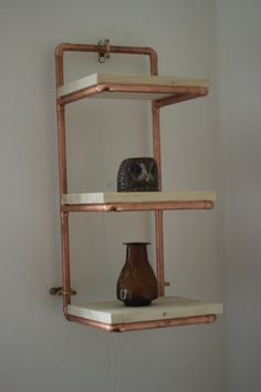 industrial furniture Three Tier Natural Finish Pine And Copper Pipe Display Shelves/Shelving Unit - Bespoke Industrial Furniture Copper Furniture, Pipe Furniture, Upcycled Furniture, Industrial Furniture, Refurbishing Furniture, Furniture Projects, Display Shelves, Shelving, Display Ideas
