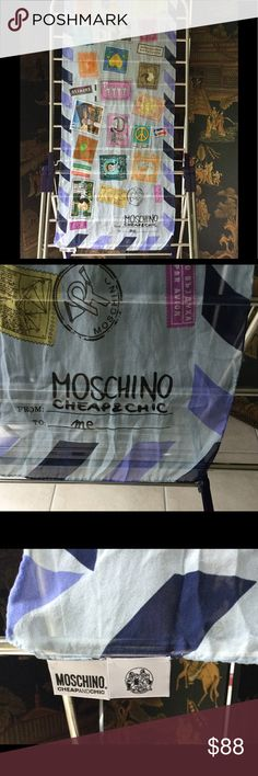 "Moschino Scarf Silk 💯 Love ❤️ Moschino Scarf 💯 Silk 64"" long 17"" wide 🍁🍁🍁 Love Moschino Accessories Scarves & Wraps"