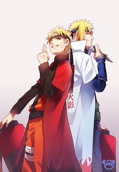 うずまきナルトと波風湊|漩渦鳴人和波風湊兩父子|Uzumaki Naruto and Namikaze Minato, father and son ~ by Meiko (Puua)