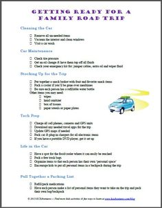 Road Trip checklist - perfect way to get ready for summer travel!