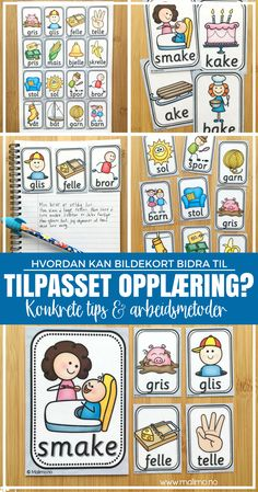 Ord- og bildekort: en gavepakke for TPO Popsicle Stick Crafts, Worksheets For Kids, Anchor Charts, Classroom Decor, Teaching Kids, Norway, Kindergarten, Homeschool, Language