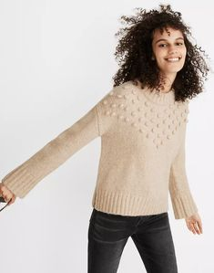 Placed Bobble Mockneck Sweater