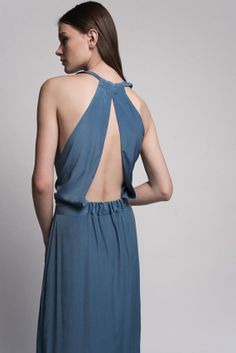 Blue Maxi Evening Dress With An Open Back / Bridesmaid Dress on Etsy, 641.48₪