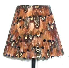 Pheasant feather 'coolie' lampshade RUST colours. STUNNING! Hand made in the UK