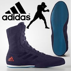 finest selection b2624 ef6c6 adidas Box Hog Plus V2 Boxing Boots Petrol Blue Mens Retro Sports Trainers  Shoes