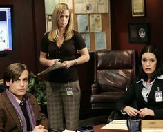 JJ, Reid, and Prentiss go over some details of a new case; from S2E10, Lessons Learned.