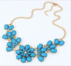 6 Colors Jewelry Gem Charm Retro Necklaces