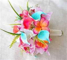 coral calla lily bouquet | ... Turquoise and Coral Orchids, Plumerias & Calla Lilies Garden Bouquet