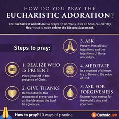 catholic-link: 10 ways to pray: Eucharistic Adoration by… Catholic Prayers, Adoration Catholic, Catholic Religious Education, Catholic Beliefs, Catholic Kids, Catholic Quotes, Roman Catholic, Catholic Answers, Christianity