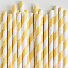 Paper Straws: Limoncello Stripes