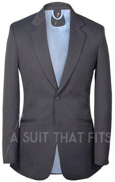 Grey Distinguished Two Piece Suit with a light blue lining.
