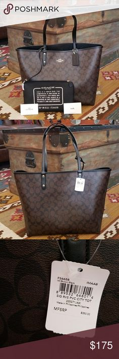 d495b0ecfca4 COACH Reversible City Signature Brown Tote Brand New 100% Authentic Coach  Reversible Signature City PVC