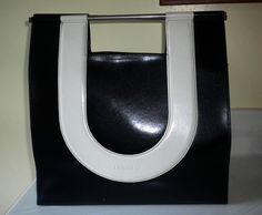 Vintage Rare Ungaro Tote Handbag Clutch 1970s Black & white made in France