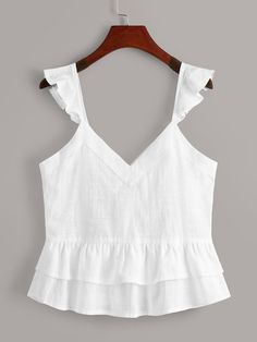Button Through Ruffle Trim Top Spring Dresses Casual, Simple Dresses, Casual Outfits, Girls Fashion Clothes, Fashion Outfits, Boho Fashion, Girl Fashion, Plus Size Women's Tops, Crop Top Outfits