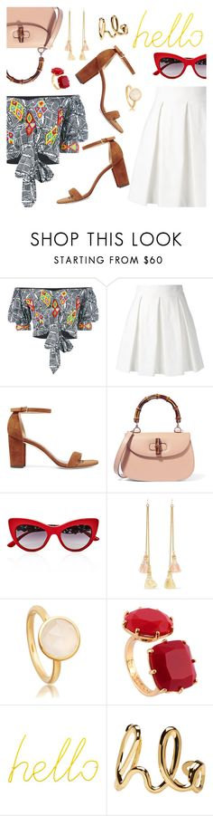 Hello! by dressedbyrose on Polyvore featuring Mochi, Boutique Moschino, Stuart Weitzman, Gucci, Chloé, Ben-Amun, Les Néréides, Dolce&Gabbana, Block and ootd
