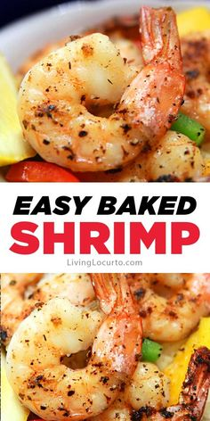 delicious baked shrimp with lemon, garlic and butter is a a quick and easy oven-roasted shrimp recipe for dinner or a party.This delicious baked shrimp with lemon, garlic and butter is a a quick and easy oven-roasted shrimp recipe for dinner or a party. Baked Shrimp Recipes, Shrimp Recipes For Dinner, Fish Recipes, Seafood Recipes, Cooking Recipes, Quick Recipes, Easy Oven Recipes, Vegetarian Cooking, Easy Cooking