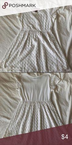 White dress lace design Epic threads white dress; size kids large, worn, has belt loops, lace design Epic Threads Dresses Midi