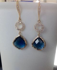 Blue Sapphire Earrings Sapphire Earrings Blue by 2010louisek7