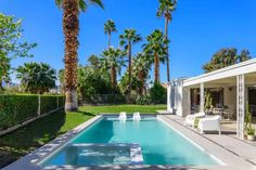 Large Midcentury w/Heated Pool & Outdoor Spaces - Houses for Rent in Indio Outdoor Spaces, Outdoor Decor, Air Bnb, Large Backyard, Heated Pool, Renting A House, Coachella, Palm Trees, Mid Century