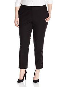 Vince Camuto Women's Plus-Size Front Zip Ankle Pant, Rich Black, 22W- #fashion #Apparel find more at lowpricebooks.co - #fashion