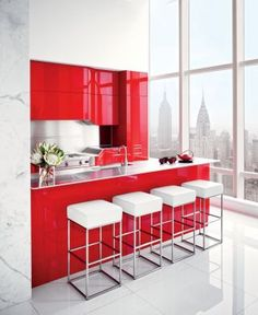 RED! Contemporary Kitchen by ODA-Architecture and ODA-Architecture in New York, New York