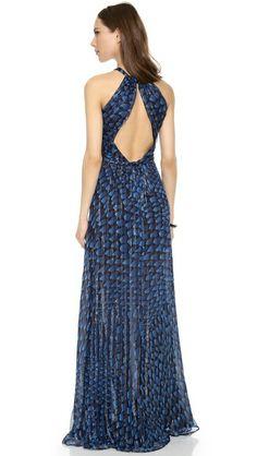 ISSA Metallic Chiffon Open Back Gown