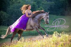 Senior picture idea with horse amd prom dress. BY: Impulse Photography