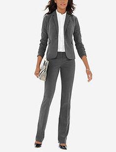 Grey Drew Collection Bootcut Pants & Flap Pocket Jacket