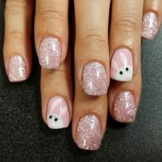 Glittery Pink Bunny Nails | Easter Nail Designs, check it out at http://makeuptutorials.com/easter-nail-designs-makeup-tutorials