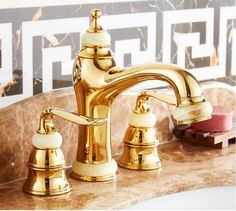 136.88$  Buy here - http://alia14.worldwells.pw/go.php?t=32787515740 - 3 Pcs Jade Decoration Brass Deck Mounted Bathroom widespread basin faucet sink mixer Double handles Faucet