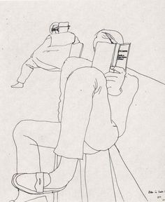 line drawing by David Hockney reading D.H Lawrence                              …