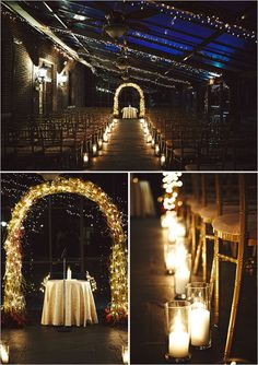 Twinkle light arch idea for ceremony